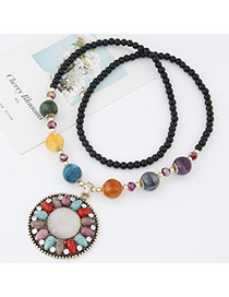 Sweet Multicolor Beads Decorated Round Shape Pendant Design Alloy Beaded Necklaces