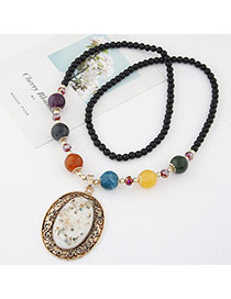 Sweet Multicolor Beads Decorated Oval Shape Pendant Design Alloy Beaded Necklaces