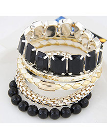 Exquisite Black Gemstione Decorated Multilayer Design Alloy Fashion Bangles