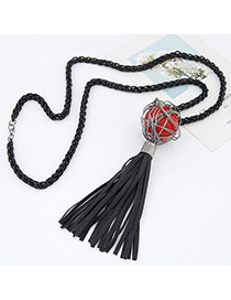 Sweet Red Beads Decorated Tassel Design Alloy Beaded Necklaces