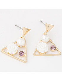 Sweet White Flower Decorated Triangle Design Alloy Stud Earrings