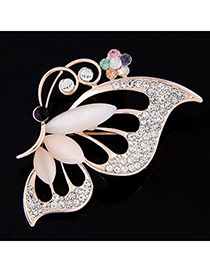 Exquisite Mulitcolor Diamond Decorated Butterfly Shape Design  Alloy Korean Brooches