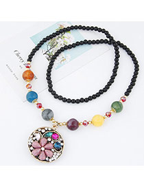 Fashion Multicolor Beads Decorated Round Shape Pendant Design Alloy Bib Necklaces