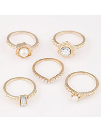 Exquisite Gold Color Diamond & Pearl Decorated Simple Design Alloy Korean Rings