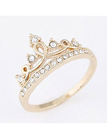 Sweet Gold Color Diamond Decorated Crown Design  Alloy Korean Rings