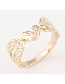 Personalized Gold Color Wings Shape Decorated Simple Design  Alloy Korean Rings