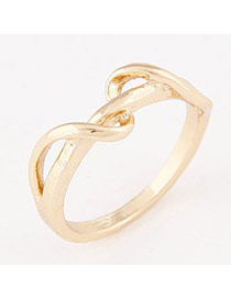 Personalized Gold Color Pure Color Simple Design  Alloy Korean Rings