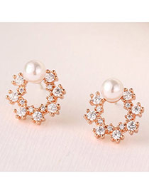 Sweet Rose Gold Pearl Decorated Flower Design(anti-allergy)  Cuprum Stud Earrings