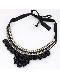Classy Black Gemstone Decorated Fake Collar Design