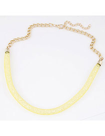 Trendy Yellow Diamond Decorated Hollow Out Design Alloy Bib Necklaces