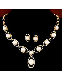 Trendy Gold Color Pearl Decorated Oval Shape Design Alloy