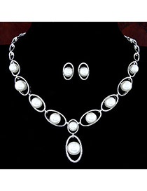 Trendy Silver Color Pearl Decorated Oval Shape Design Alloy Jewelry Sets