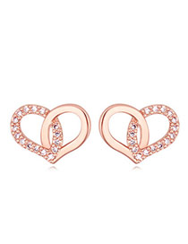 Swanky Rose Gold Diamond Decorated Heart Shape Design  Cuprum Crystal Earrings