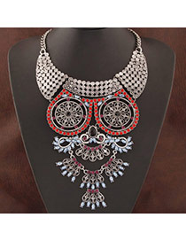 Swanky Silver Color&red Flower Decorated Hollow Out Design
