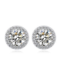 Luxurious White Diamond Decorated Round Shape Design  Cuprum Crystal Earrings
