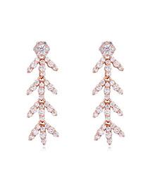 Luxurious Rose Gold Diamond Decorated Leaf Shape Design  Cuprum Crystal Earrings