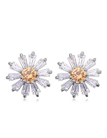 Sweet Champagne Diamond Decorated Flower Shape Design  Cuprum Crystal Earrings