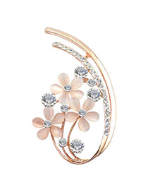 Charming Apricot Diamond Decorated Flower Shape Design  Alloy Korean Brooches