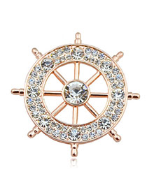 Charming Gold Color Diamond Decorated Anchor Shape Design  Alloy Korean Brooches