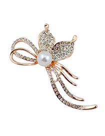 Temperament Gold Color Pearl Decorated Flower Shape Design  Alloy Korean Brooches