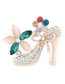 Charming Multicolor Diamond Decorated High Heels Shape Design  Alloy Korean Brooches