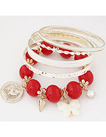 Exquisite Red Beads Decorated Multilayer Design  Alloy Fashion Bangles