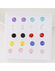 Exquisite Multicolor Round Shape Diamond Decorated Simple Design(anti-allergy)  Rosin Stud Earrings