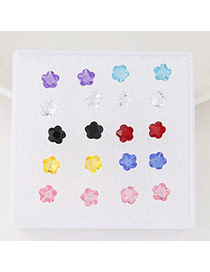 Exquisite Multicolor Flower Shape Decorated Simple Design(anti-allergy)  Rosin Stud Earrings
