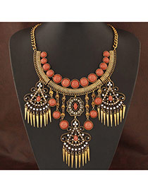 Retro White Rivet Decorated Tassel Design Alloy Bib Necklaces