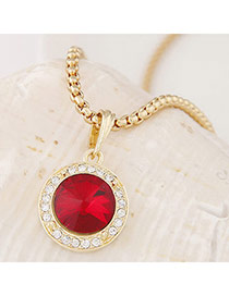 Swanky Red&gold Color Diamond Decorated Round Pendant Design Alloy Chains