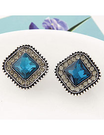 Fashion Blue Diamond Decorated Square Shape Design Alloy Stud Earrings