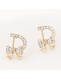 Fashion Gold Color Diamond Decorated D Shape Design Alloy Stud Earrings