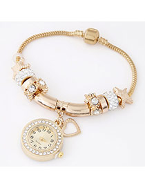 Trendy White Heart Pendant Decorated Multielement Design Alloy Ladies Watches