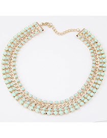 Fashion Green Gemstone Decorated Multilayer Design Alloy Bib Necklaces