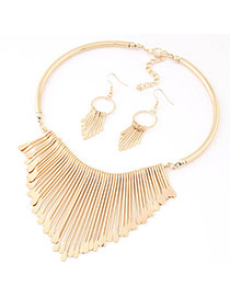 Fashion Gold Color Tassel Decorated Simple Design