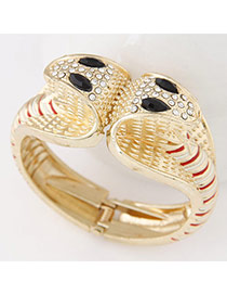 Personality Gold Color+red Diamond Decorated Double-headed Snake Shape Design  Alloy Fashion Bangles