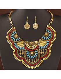 Exaggerate Antique Gold Diamond Decorated Fan Shape Design Alloy Jewelry Sets