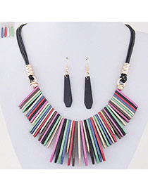 Temperament Multi-color Vertical Bar Pendant Decorated Simple Design Alloy Jewelry Sets