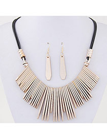 Temperament Champagne Vertical Bar Pendant Decorated Simple Design  Alloy Jewelry Sets