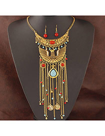 Exaggerate Gold Color Eagle Decorated Tassel Design Alloy Jewelry Sets