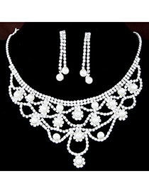 Elegant Silver Color Pearl Decorated Hollow Out Collar Design  Alloy Jewelry Sets