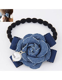 Fashion Navy Blue Flower Decorated Simple Design  Fabric Hair band hair hoop
