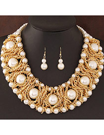 Fashion White Pearl Decorated Weave Design Alloy Jewelry Sets