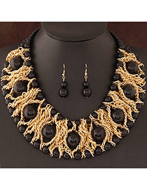 Fashion Black Pearl Decorated Weave Design  Alloy Jewelry Sets
