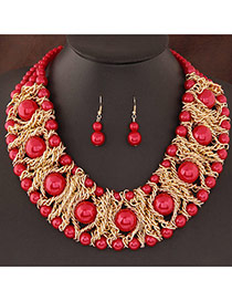 Fashion Red Pearl Decorated Weave Design  Alloy Jewelry Sets