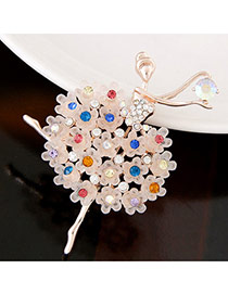 Sweet Multicolor Diamond Decorated Ballet Girl Shape Design Alloy Korean Brooches