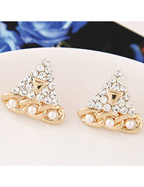 Sweet Gold Color Diamond Decorated Triangle Shape Design