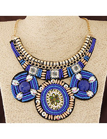 Bohemia Blue Round Shape Pendant Decorated Collar Design