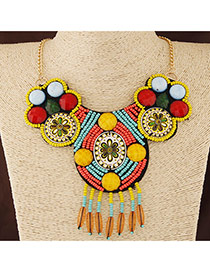 Bohemia Multi-color Beads Weave Decorated Tassel Collar Design