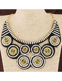 Bohemia White+black Round Shape Pendant Decorated Collar Design